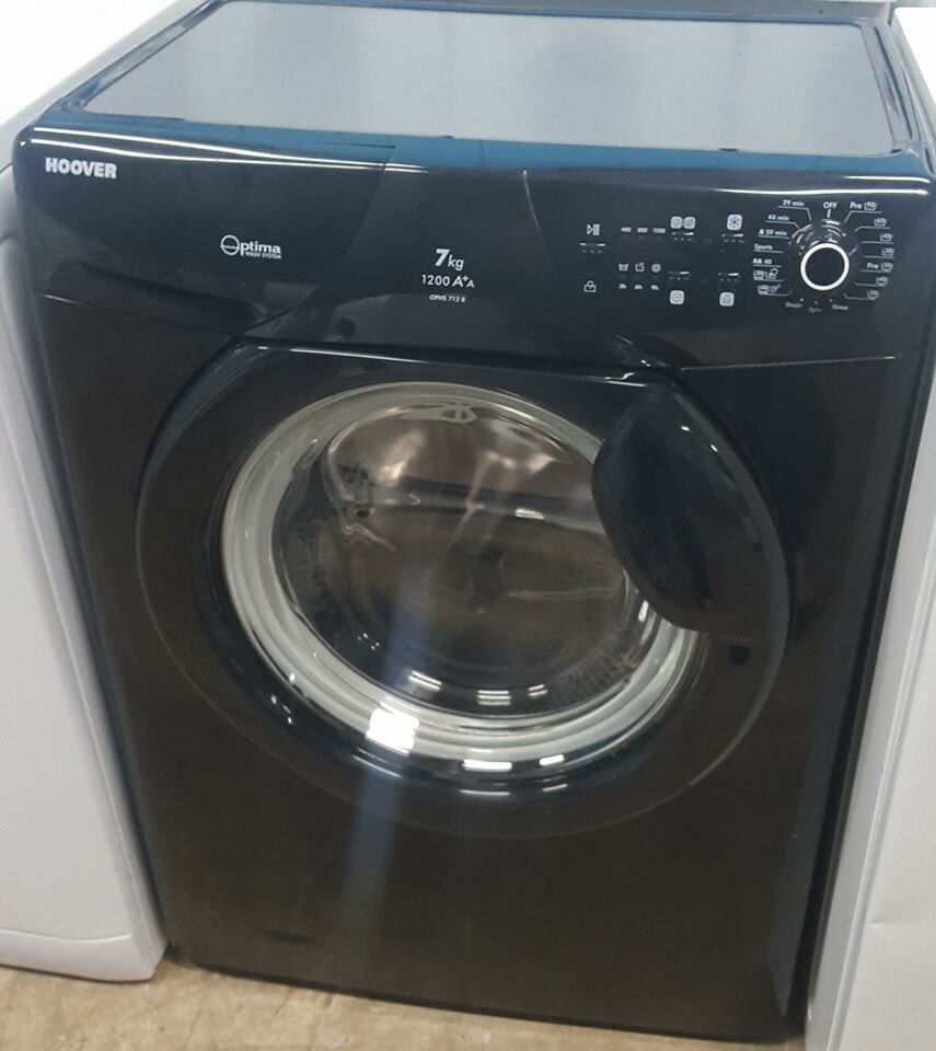 q339 black hoover 7kg 1200spin washing machine comes with warranty can be delivered or collected