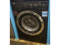Y147 black & chrome beko 9kg 1400spin washing machine graded comes with warranty can be delivered