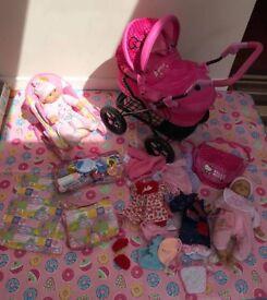 Hello Kitty Toy Pram & Baby Born Seat & extras