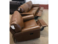 Brand New Heart of House Salisbury 3 Seater Recliner Leather Sofa And Recliner Chair- Tan.