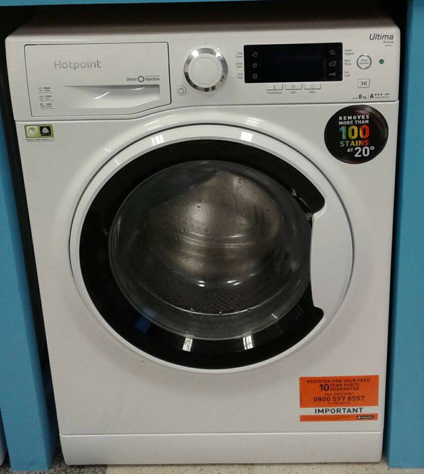 H164 white hotpoint 8kg 1400spin A+++ rated washing machine comes with warranty can be delivered