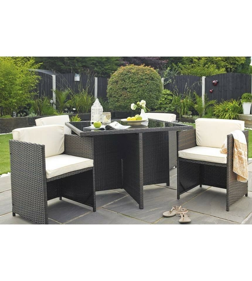5 Piece Garden Dining Set 4 Chairs Amp Table Rattan Cube