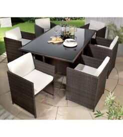 Brand New 7 Piece Natural/Cream 6 Cube Chairs & Table Brown Rattan Garden Outdoor Patio Set
