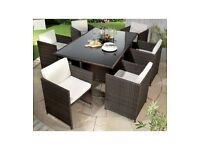 Brand New Monaco 7 Piece Brown Rattan Effect Cube Hideaway Dining Garden Outdoor Lounge Set