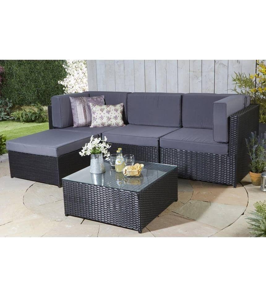 Brand New Medium Rattan Black Corner Sofa + Coffee Table