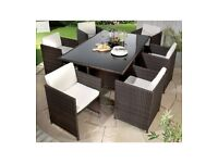 Brand New 7 Piece 6 Cube Chairs & Table Brown Rattan Garden Outdoor Patio Set - Natural/Cream