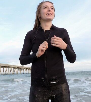 Women's 2mm Wetsuit Jacket with Front Zipper, Long Sleeve Size: 2XL