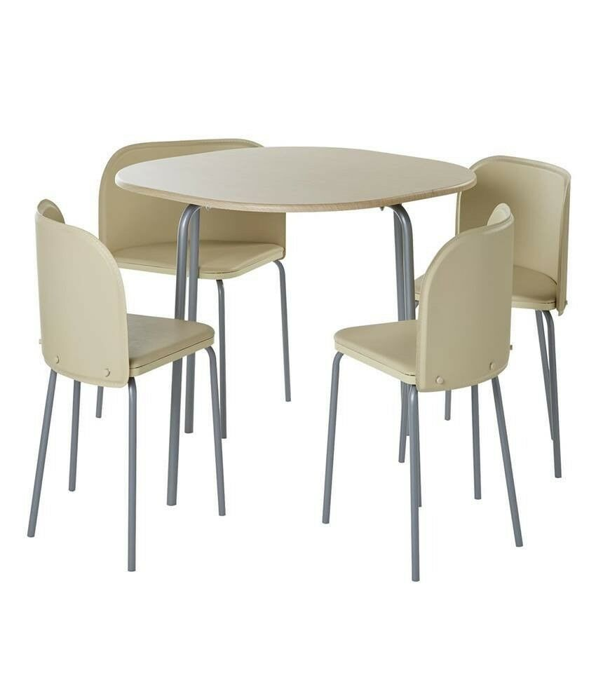 Brand New 5 Piece 4 Chairs Space Saving Rounded Design Table Dining Set In  Cream