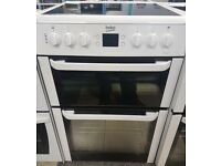 a493 white beko 60cm ceramic hob double oven electric cooker come with warranty can be delivered