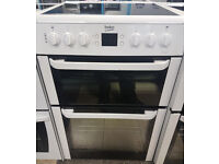 a493 white beko 60cm ceramic hob double oven electric cooker comes with warranty can be delivered