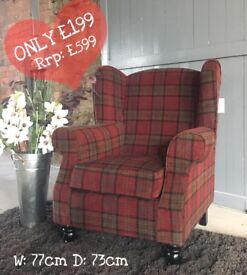 NEW Red Tartan Wingback accent chair - can deliver