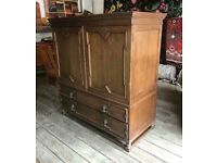 Antique Jacobean Style Linen Chest Of Drawers