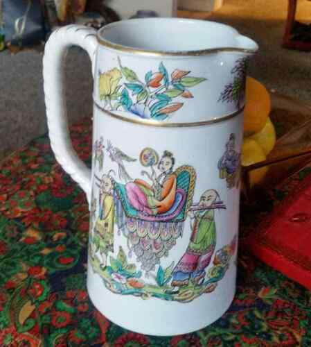 Antique Ridgway Chinoiserie Earthenware Pitcher, Hand Painted
