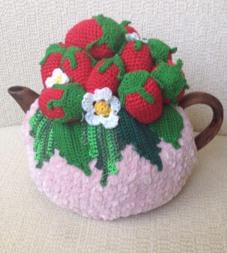 NEW  Handmade Tea Cozy Strawberries/Pink Base ...