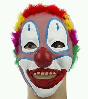 Scary Clown Halloween Outfit (Halloween evil Clown Mask wig hair Latex Scary Horror joker costume prop outfit)