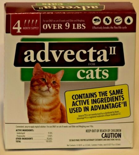 Advecta II Flea& Tick for CATS over 9 lbs 4 month supply. Brand New Sealed.
