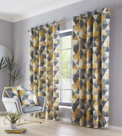 Dakota Geometric Ochre Curtains - 90 x 90 - Other Sizes Available