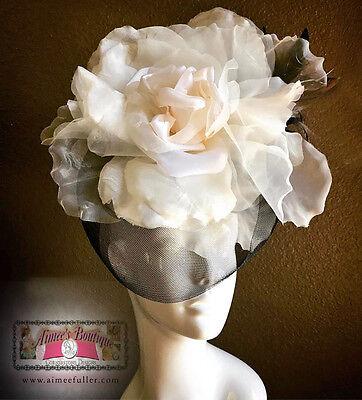Kentucky Derby Boda Broche Tul Negro Sombrero Tocado Crema Marfil Flor de...