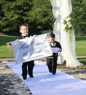 Wedding Ceremony Banner Here Comes The Bride SIgn Ring Bearer Flower Girl Decor](Wedding Ceremony Signs)