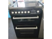 BLACK HOTPOINT 60CM ELECTRIC COOKER, 4 MONTHS WARRANTY