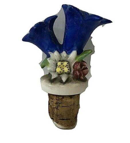 VTG Floral Blue Tulip Flower Porcelain Pourer Bottle Stopper Topper Wine Liquor