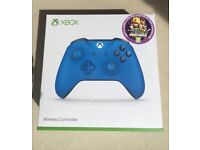 "BRAND NEW XBOX 1 wireless controller[blue]+digital game code ""overcooked"""