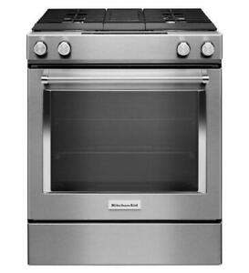 30 KitchenAid Slide-in Range, Dual-Fuel,DOWNDRAFT , Stainless, Showroom