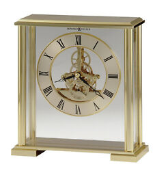645-622  BRASS AND POLISHED BRASS FINISHED HOWARD MILLER TABLE/SKELETON  CLOCK