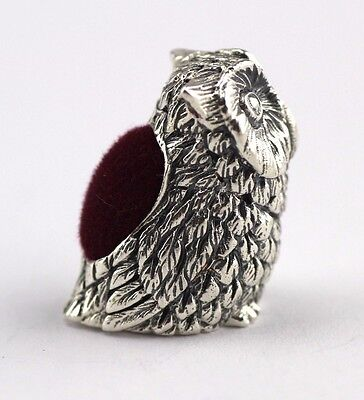 MINIATURE VICTORIAN STYLE OWL PIN CUSHION 925 SOLID STERLING SILVER
