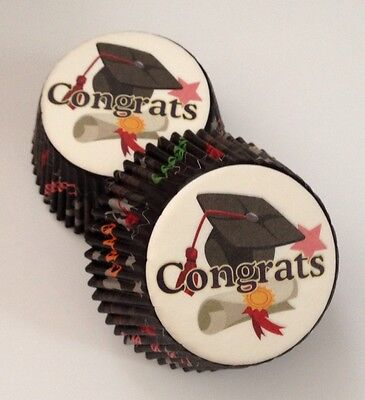 50 pcs Graduation Cupcake Liners Celebration High School College University A001