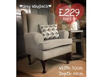 NEW Grey Wingback Chair, Can Deliver