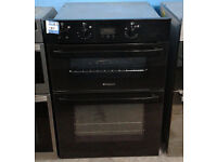 o370 black hotpoint integrated double electric oven comes with warranty can be delivered