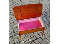 Lovely mid century vintage teak sewing box with fabulous pink interior