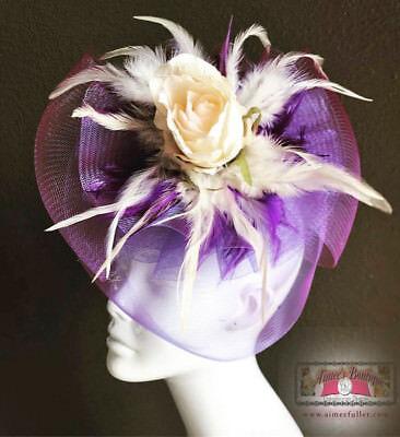 Violeta Royal Ascot Sombrero Tocado Blanco Roto Vainilla Crema Flores Kentucky