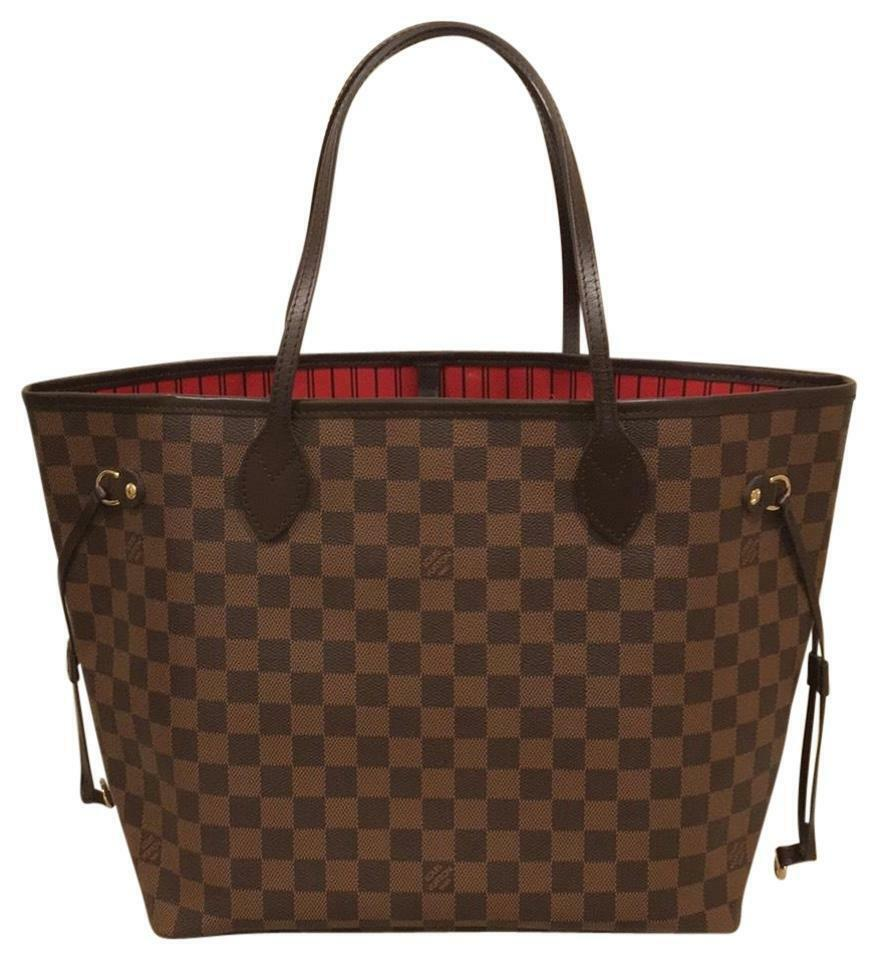 1f565a5af6bc Louis Vuitton Neverfull MM Damier Ebene Canvas Red for sale online ...