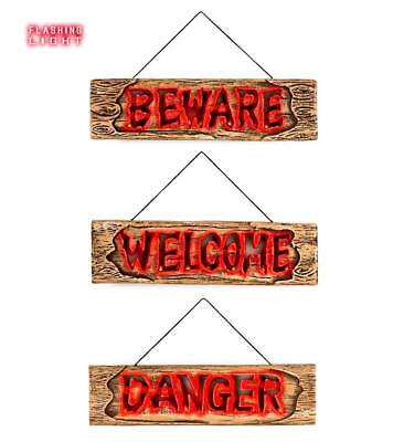 loween Party - DANGER WELCOME BEWARE - Effetto Legno (Effetto Halloween)