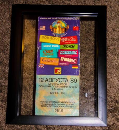 RARE Moscow Music Peace Festival Framed 1989 Ticket / Bon Jovi Ozzy Motley Crue