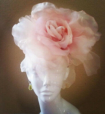 Royal Ascot Fascinator Hat Pink Lg Rose Flower Silk Velvet Kentucky Derby Races