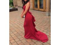 Burgundy train fish tail backless dress, with a 12cm beautiful bow on the back only wore once
