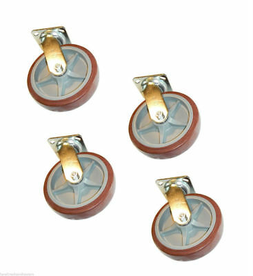 Set Of 4 Swivel Plate Casters With 8 X 2 Maroon Rubber Polyurethane Wheels