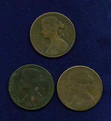 G.B./U.K./ENGLAND VICTORIA 1860 1 PENNY COINS, LOT OF (3)