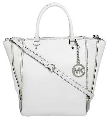 NEW MICHAEL KORS NEWMAN OPTIC WHITE LEATHER LARGE TOTE,SHOULDER BAG,CROSSBODY