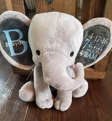 New Personalized Baby Stats Elephant Shower Gift Stuffed animal Keepsake Boy Gir