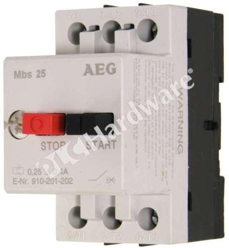 AEG 910-201-202/MBS25 Manual Motor Starter 0.25-0.4A 3-Pole DIN Rail