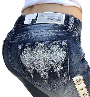 GRACE IN LA Boot Mid Rise Easy Bootcut Embellished Jeans 26 27 28 29 30 31 32  Mid-rise Boot