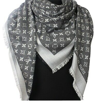 NEW! LOUIS VUITTON Monogram Denim Black Silk/Wool Shawl Scarf