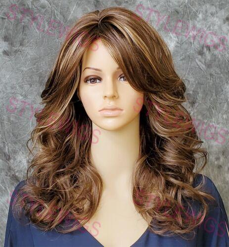 Light Brown/Blonde Mix Shoulder Medium Barrel Curls Synthetic Hair Full STAB 1C - $17.10