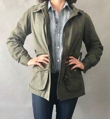 - Ambiance Women Military Army Anorak Utility Parka Drawstring Jacket Green S M L