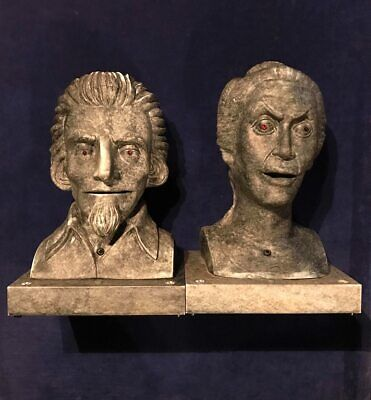 Gemmy Halloween Animated talking male & female bust props