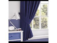"BRAND NEW PAIR OF SLATE RIDGE LIMA NAVY TAB TOP CURTAINS WITH TIE BACKS 90"" X 72"""